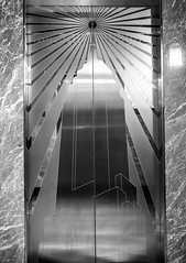 New York Jan 2014 Trip - 286.jpg (alexmerwin13) Tags: door city nyc newyorkcity travel urban blackandwhite bw usa newyork detail texture metal blackwhite unitedstates artistic manhattan elevator northamerica trips empirestatebuilding 2013 newyorkjanuary2014trip