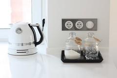 tea & coffee station (cheshirkgd) Tags: white glass kettle jar kitchenaid