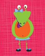 Monster Gertie (Ferntree Studio) Tags: baby silly art goofy monster kids illustration print children fun artwork toddler colorful graphic bright nursery cartoon illustrator etsy comical whimsical bedroomdecor ferntreestudio angelatraunig