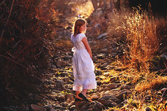 Girl with white dress in stream bed feb 2014 (houstonryan) Tags: white cold art girl print children photography utah bed weeds stream day photographer child dress ryan daughter houston dry tunnel redhead photograph bushes redheaded undergrowth houstonryan