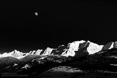 Moon over Mont Blanc (josefrancisco.salgado) Tags: bw moon mountain snow france alps blancoynegro monochrome alpes blackwhite nikon europa europe nieve luna astronomy grayscale nikkor montaa montblanc montebianco d4 combloux rhnealpes 2470mmf28g