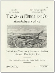 The John Ebner Ice Co., Manufacturers of Ice, Vincennes, Indiana (Hoosier Recollections) Tags: horses usa history industry fence buildings advertising boats factory indiana trains transportation rivers streams businesses railroads wagons vincennes steamboats knoxcounty hoosierrecollections