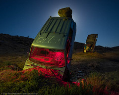 Between a Rock and a Hard Place (dejavue.us) Tags: longexposure nightphotography lightpainting abandoned nikon desert nevada fullmoon nikkor d800 goldfield 1835mmf3545d vle carforest