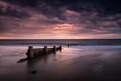 High tide & sunset (Steve Docwra (Norfolk based photographer)) Tags: uk longexposure sunset sea colour reflection moody norfolk northsea groyne eastanglia winterton waterscape seadefense waterscapeatsunset