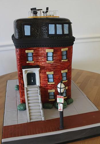 Boston Brownstone Building Cake