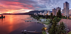 Vancouver Sunset (Patrick Lundgren) Tags: park street bridge pink trees sunset sky panorama orange sun canada mountains west reflection english beach nature water beautiful ferry vancouver clouds creek canon buildings bay coast high long exposure downtown glow bc pacific northwest 10 sigma columbia stop filter nd end 1750 british burrard condos rises false density afterglow vancity neutral 60d