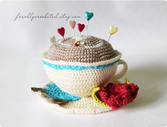 cream cup (Olilchen) Tags: cup coffee rose heart tea crochet pins latte amigurumi cushion doily saucer