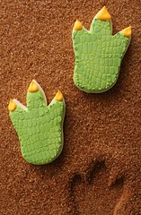 Dinosaur Track Cookies (SweetSugarBelle) Tags: foot track cookie dinosaur royal icing triceratops pterodactyl