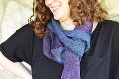 scarves of summer (kindred threads) Tags: handwoven kindredthreads weaving handdyed scarves dyedwarp warpdyed twill