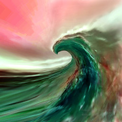 The Almond Eye Forms the Curl of Perfection (Vern Krutein) Tags: paintography surfing waves water sunset curl breakingwave ocean energy surreal surd01060 california ominous