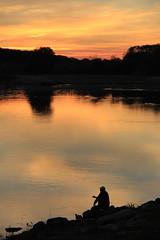 Efkar / Sorrow (besikt_asli) Tags: reflection river man sorrow edirne meri maritsa sky sunset clouds autumn detail landscape turkey trkiye trakya blue pink lila light dark smoker