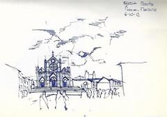 Santa Croce (Andrs Goi :: www.andresgoni.cl) Tags: sketch croquis dibujo arquitectura lapiz mano handwrite architecture europa inglaterra england london train tren italy italia florencia firenze sienna