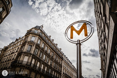 Metro sign in Paris (doctor.calavera) Tags: france metro street city modern parisienne transportation sky yellow station travelingtube art european facade metropolitan subway light clear house blue symbol urban paris travel parisian train retro object equipment sign europe clouds tourism