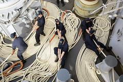 Sailors aboard USS Iwo Jima heave mooring lines during a sea-and-anchor detail. (Official U.S. Navy Imagery) Tags: iwo jima lhd 7 amphibious amphib mayport fla florida fl hurricane matthew disaster relief humanitarian aid haiti