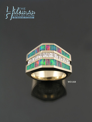 Australian Opal Wedding Ring with Diamonds