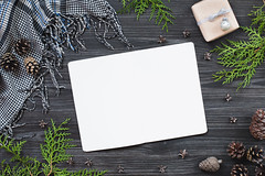 Paper notebook with decoration (Olga_Z1982) Tags: notebook pine blanket gift box holiday wooden background christmas gray table greeting arborvitae branches evergreen mockup mock up decor decoration rustic