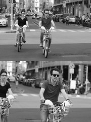 [La Mia Citt][Pedala] con il BikeMi (Urca) Tags: milano italia 2016 bicicletta pedalare ciclista ritrattostradale portrait dittico bike bicycle nikondigitale mir biancoenero blackandwhite bn bw 89840 bikemi bikesharing