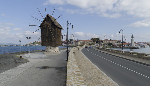Windmill in front of Nesebar old town, 09.10.2014.