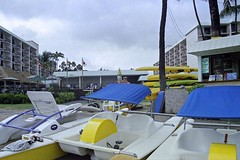 Paddle Boats at the King Kamehameha's Kona Beach Hotel (AntyDiluvian) Tags: hawaii 2001 30thanniversary kailua kailuakona bigisland hotel kingkamehamehaskonabeachhotel beach paddleboat