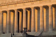 Early Autumn Morning at the Lincoln Memorial (Golden Hour) (dckellyphoto) Tags: washingtondc districtofcolumbia washington lincolnmemorial abrahamlincoln early morning goldenhour columns capitals neoclassicalarchitecture neoclassical fluted people diagonal nationalmall 2016 nps nationalparkservice usnationalparkservice monument memorial building colonnade marble stone lincoln