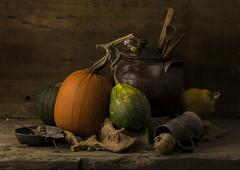Squash Selfie (GARY HICKIN (GAZART)) Tags: pentaxart justpentax stilllife pumpkin squash stewpot pewter tankard porringer spoon hessian wood reflection