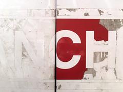 N C H (k.james) Tags: nch metal sign kjameshenderson kenthenderson vinyl red white decay ripped distressed