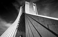 Azadi Tower - Tehran Iran (André Schönherr) Tags: 40d visionhunter iran tehran teheran azadi biulding tower bw blackwhite schwarzweis