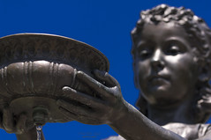 ... drinking water (mariola aga) Tags: chicago lincolnpark statue fountaingirl water blue sky closeup dof