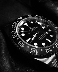GMT Master II (theGR0WLER) Tags: arrow macromondays hmm watch face fingers numbers blackwhite monochrome black white greyscale macro jewellery rolex gmt master bezel bracelet