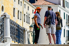 Trio (Maskedmarble) Tags: italy venice bridge gondolier people