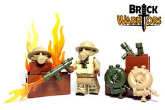 Nov 2016 - British Flame Trooper (BrickWarriors - Ryan) Tags: brickwarriors custom lego minifigure weapons helmets armor ww2 world war guns flame trooper british gas mask brodie life buoy tank flamethrower