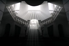 Holylight (bdrc) Tags: asdgraphy seremban abandoned building staircase holylight light rays edit monotone black white sony a6000 tokina 1116 ultrawide architecture indoor interior malaysia symmetry geometry explore urban library shape