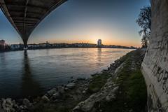 Under the bridge (ristic.vedran42) Tags: osijek bridge suspensionbridge sunset skyline river drava croatia nikon d3200 fisheye 8mm altura photo curvedhorizon clearsky