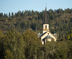 "Church on the hill (Vidar ""the Viking"" Ringstad, Norway) Tags: autumn fall church hill sky sunshine sun trees tower historic old woodenchurch innature silouette nature naturepic natureshot canoneos5dmkiii fetsund fetkirke norge norway norwegen"