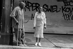Sidewalkers (Michael Goldrei (microsketch)) Tags: festival street stick walking graffiti 2016 photos shutter leica monochrome st crossing photography black miami pavement downtown photo monochrom old elderly grafitti florida tag shutters tags sidewalk grey december couple photographer m 16 dec white greyscale blackandwhite fl