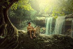 Asian boy Little fisherman (Sutipond Somnam) Tags: boy child children fisherman sad boysad hope tree waterfall nature asianboy thaiboy poor laos vietnam cambodia indonesia myanmar alone natural wilde forest littleboy gear fish asia life lifestyle people aboy