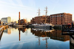 Boat reflections (paul hitchmough photography) Tags: water nikond800 sunset rivermersey liverpool pumphouse ship reflections albertdock paulhitchmoughphotography