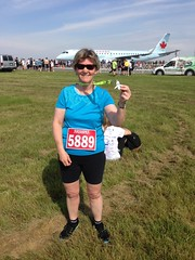 My first running medal! (pigdump) Tags: tarmac race airplane airport medal runway 5k pearson yyz
