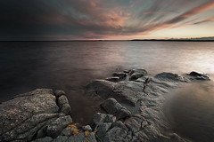 From dusk till dawn (Matthias Lehnecke | www.ml-foto.se) Tags: longexposure sunset sea outcrop lake seascape canon flow rocks glow sweden dusk stones mark iii tripod hard seed roc