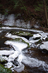(Shane Henderson) Tags: trees winter white snow green ice nature leaves forest outdoors waterfall moss woods rocks stones branches icicles sarver toddsanctuary buffalotownship toddnaturereserve