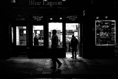 Blue Lagoon (Explored) (stephen cosh) Tags: life street city people blackandwhite bw sepia mono scotland town glasgow candid streetphotography rangefinder reallife urbanlife humancondition blackandwhitephotos 50mmsummilux blackwhitephotos leicam9 stephencosh leicammonochrom leicamm