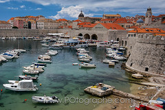 Dubrovnik's marina, Croatia (po.fortin) Tags: red panorama orange tower church stone wall port marina harbor boat fisherman gate ship harbour entrance croatia dome porte fortification fortress dubrovnik croatie ploce hvratska