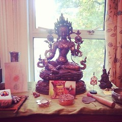Amalavajra's shrine for the Urban Retreat. This the shrine in my bedroom. At best, all five us in my community in East London   Vajradaka, Mike MacFarlane, Luke Doherty, Alex Crowe and myself   meditate each morning for an hour at 7am. Then we have breakf
