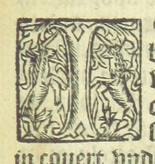 Image taken from page 175 of 'J. Palsgravii ... Ecphrasis Anglica in Comdiam Acolasti. The Comedye of Acolastus translated into oure englysshe tongue after suche manner as chylderne are taught in the grammer schole fyrst worde for worde ... and afterward (The British Library) Tags: typography small illuminated letter unicorns initials publicdomain letteri page175 vol0 bldigital mechanicalcurator pubplacelondon date1540 sysnum001442148 gnapheusgulielmus imagesfrombook001442148 imagesfromvolume0014421480