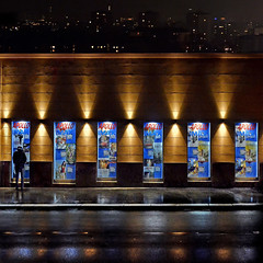 Vienna, behind its imperial courtain (Nespyxel) Tags: vienna wien city light muro wall skyline poster austria sterreich alone nightshot bills billboard solo repetition luci apollo notturna nocturne streetshot playbills 6x1 nespyxel stefanoscarselli