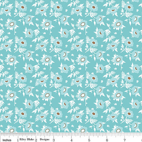 Riley Blake, Dainty Blossoms, Turquoise Floral , Quilting Cotton, 1/2 Yard,
