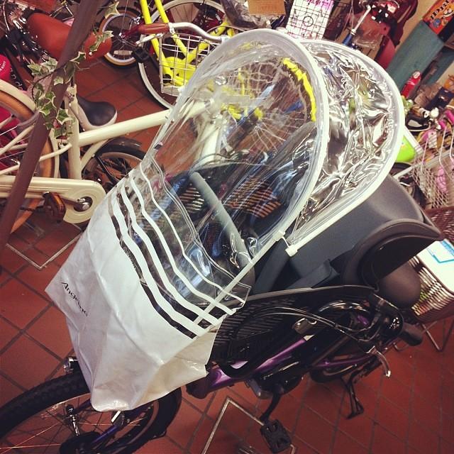 風防もつけて防寒対策も万全! #pas #kissmini #eirin #電動アシスト自転車 #風防