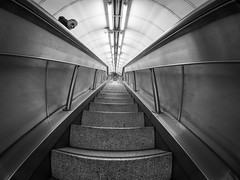 Looking Up, Looking Down (Torsten Reimer) Tags: uk england blackandwhite man london station stairs underground unitedkingdom tube bank fisheye treppe ubahn panasonicgx7