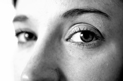 Half & half (Ray~Watson) Tags: portrait people bw detail eye beautiful face composition contrast photography blackwhite nikon focus looking unusual capture staring distant 2014 2013 d7000