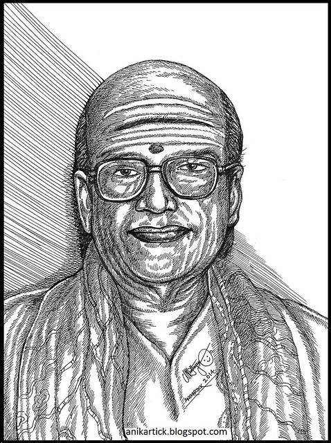 T. M. Soundararajan - Famous Tamil Playback Singer - PORTRAITS - PEN DRAWINGS - Done by Artist Anikartick,Chennai,Tamil Nadu,India